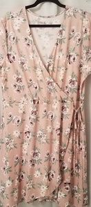 Just Be pink floral wrap dress
